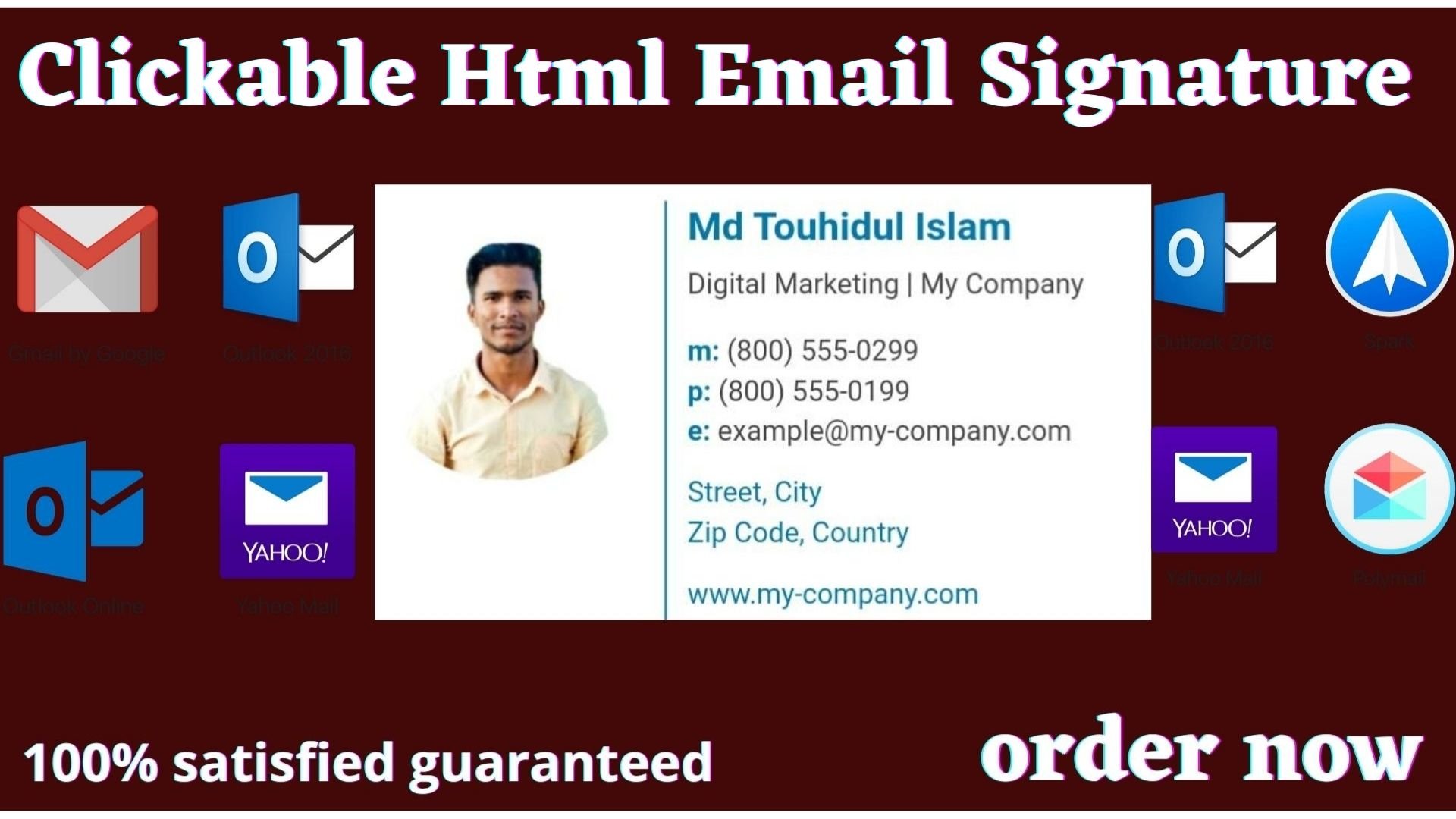 I Will Make Creative Clickable HTML Email Signature.