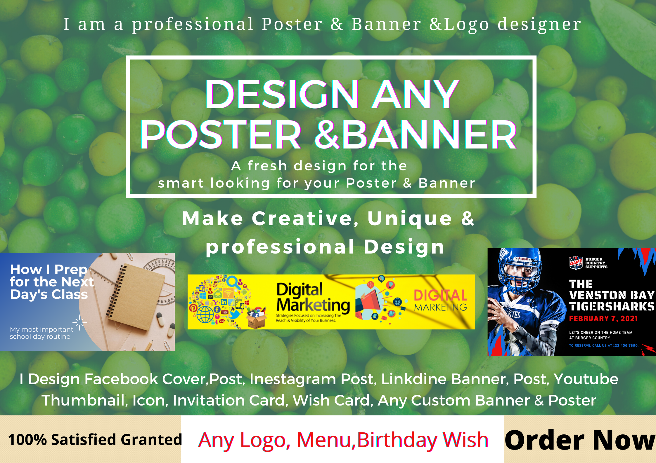 I,ll Design Unique & Professional Any Social Media Poster, Cover, And Banner & Any Logo