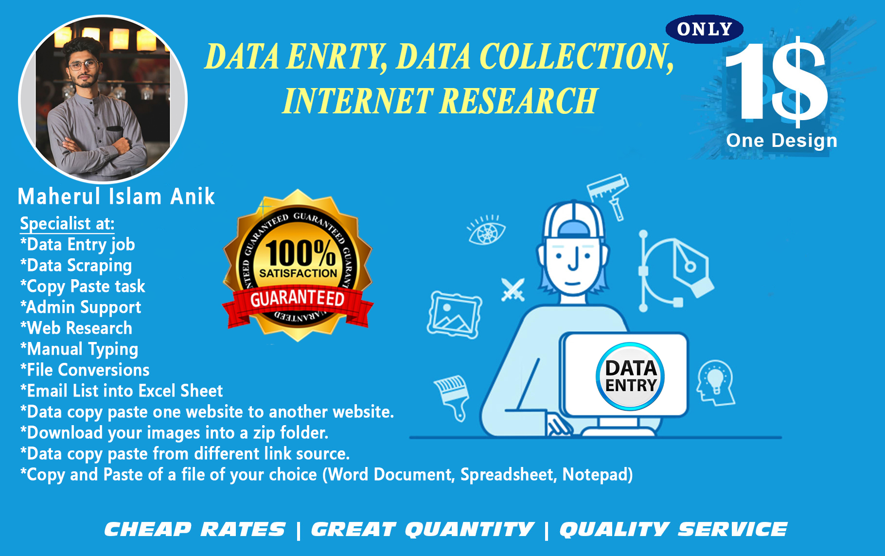 any kind of data entry or internet research for you site or sheet ETC.