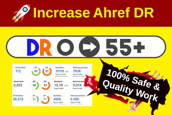 I'll increase Ahref Domain Rating to 55 plus