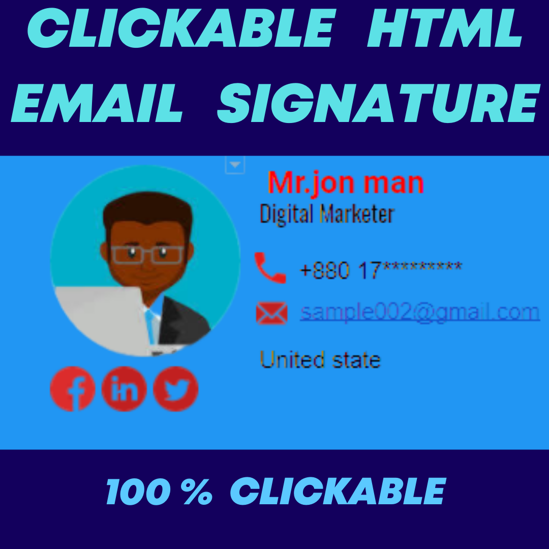 I will design clickable HTML email signature fast