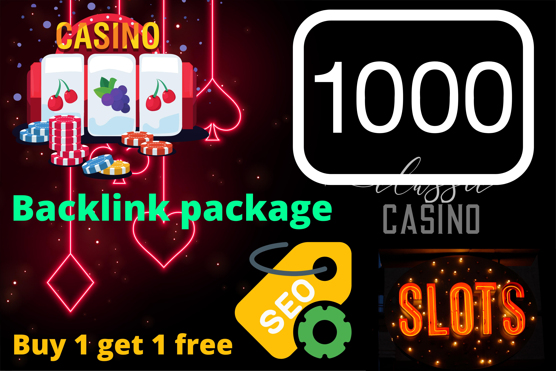 Buy 1 Get 1 Free Casino Backlinks,  Poker,  Gambling Backlinks High Quality SEO Google Top Ranking