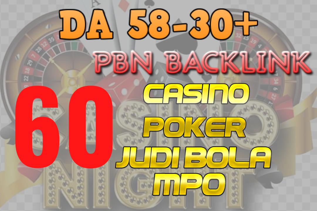 Superb 60 HQ blog Permanent DA 58-30+ PBN Backlinks Casino,  Gambling,  Poker,  Judi sites links