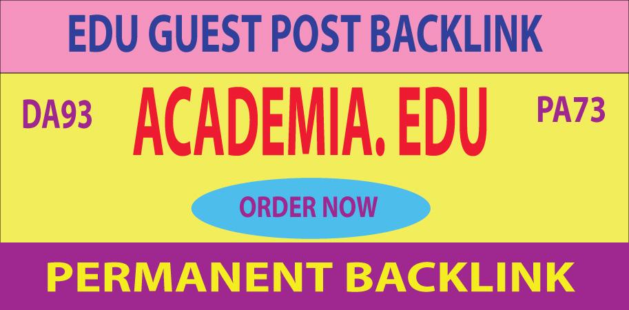 Academia. EDU Guest Post Backlink DA93 PA73