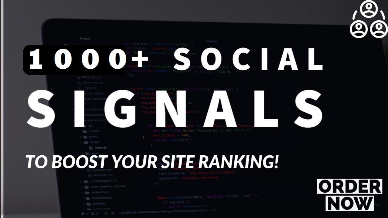 1000 social signals backlink,  top 6 media sites