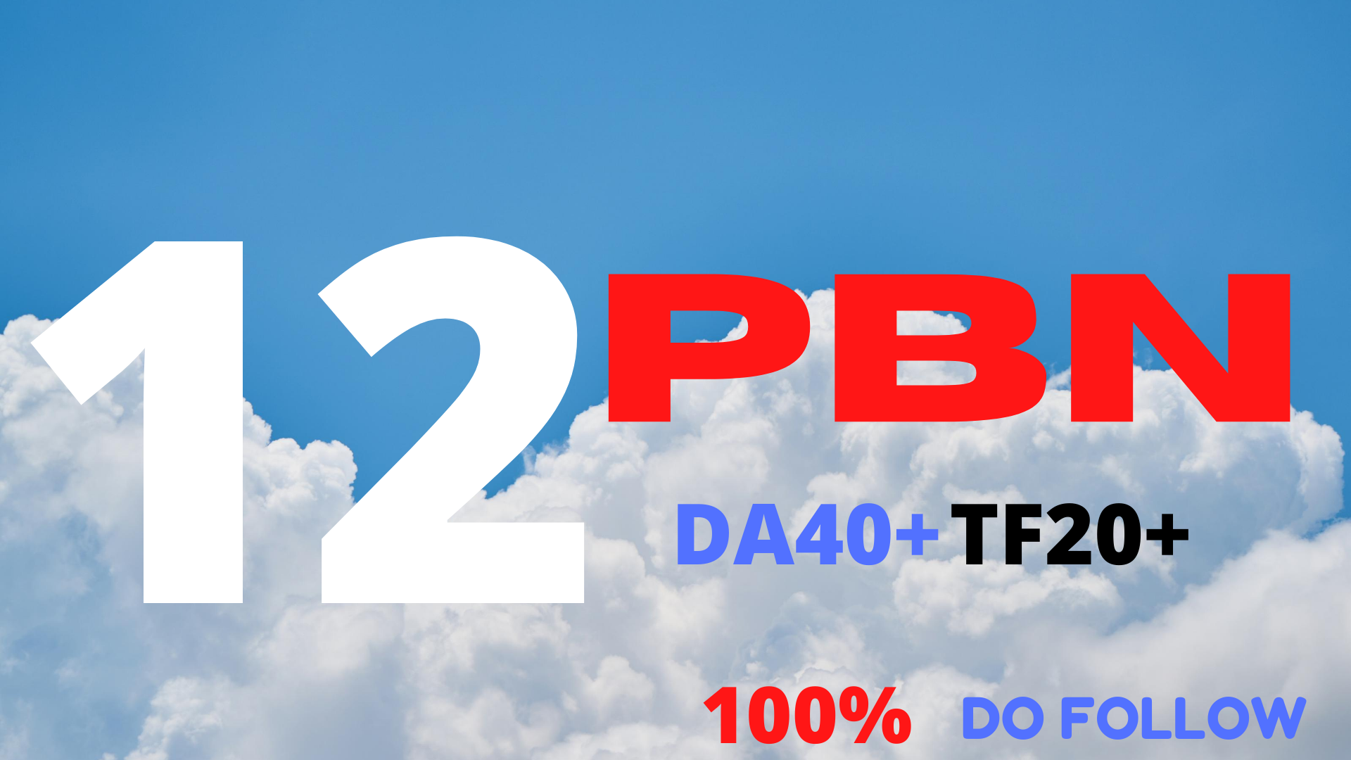 I will Create 12 High Quality PBN back link DA40+TF20+ Do follow from High AUTHORITY Sites