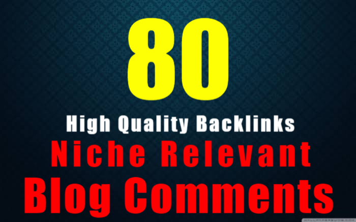 I will provide 80 nichee revelant blog comment backlink