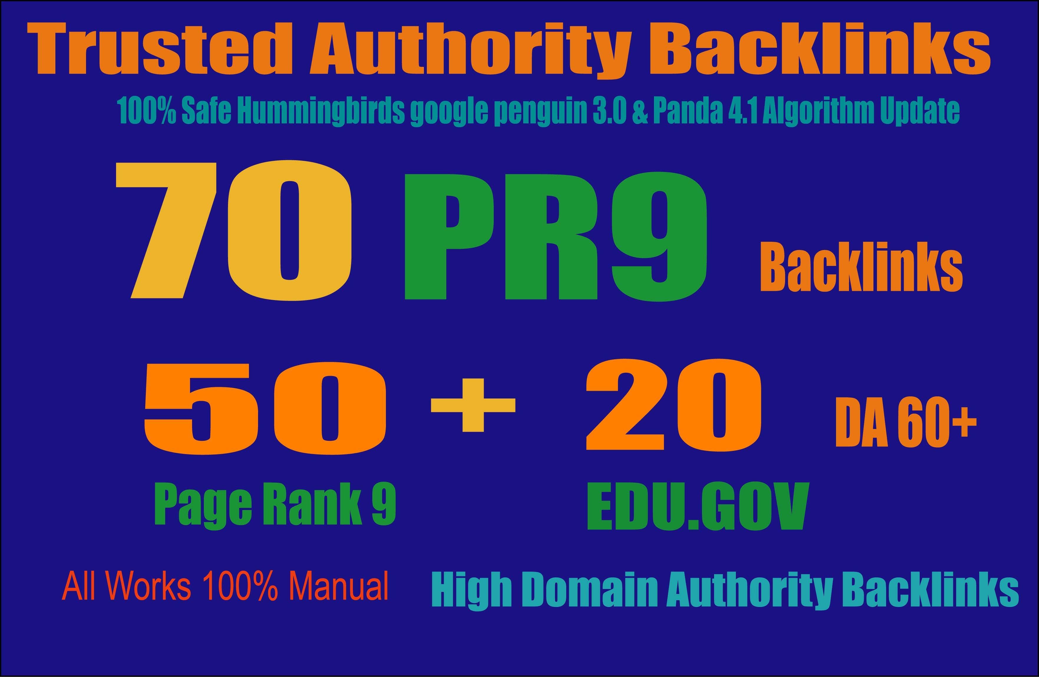 Exclusively-70 Backlinks 50 PR9 +20 EDU/GOV 80+ DA High Quality SEO Permanent Link Increase Google