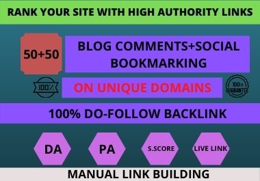I will do 50 high quality Dofollow Blog comments + 50 Social Bookmarks in High Authority Website