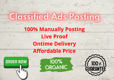 I will manually post your ads on 30 USA classified ad posting sites