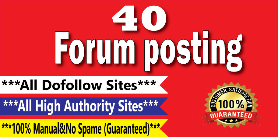 Manually Create 40 Forum Posting Dof0llow Backlinks On High DA/PA Sites