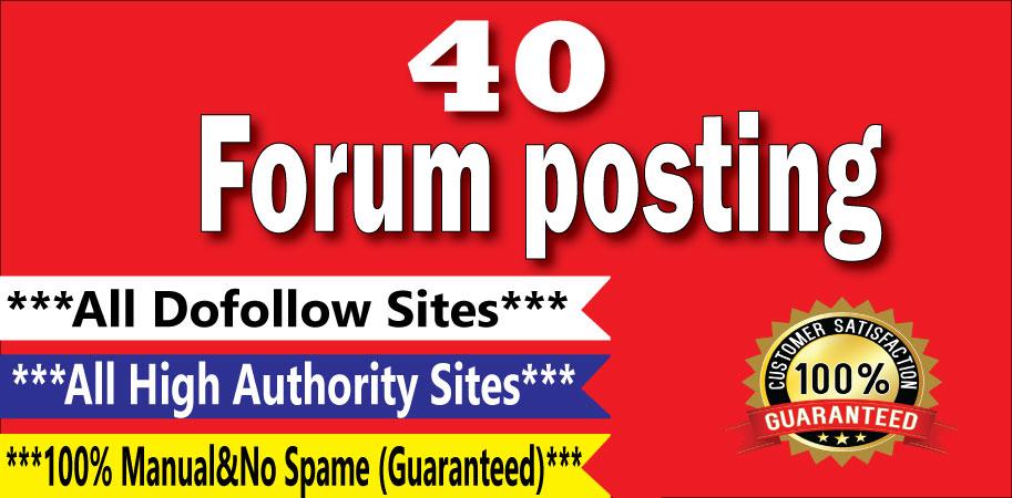 Manually Create 40 Forum Posting Dof0llow Backlinks On High DA/PA Sites