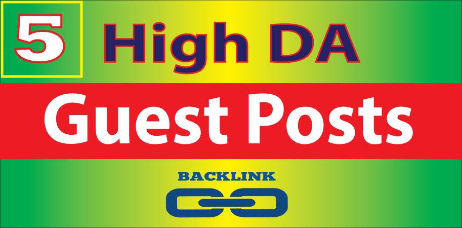 Write & Publish 5 Guest Posts High DA Powerful Backlinks