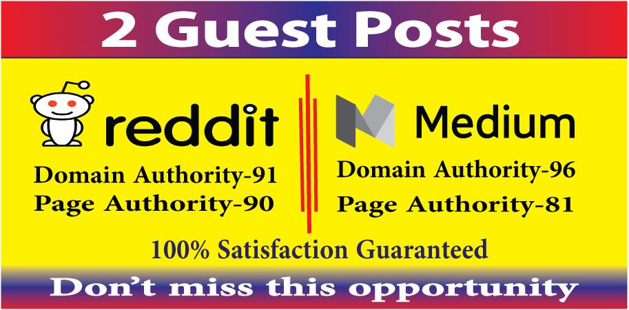 Write & publish 2 guest posts on reddit & medium. com high quality DA-90+ blogs