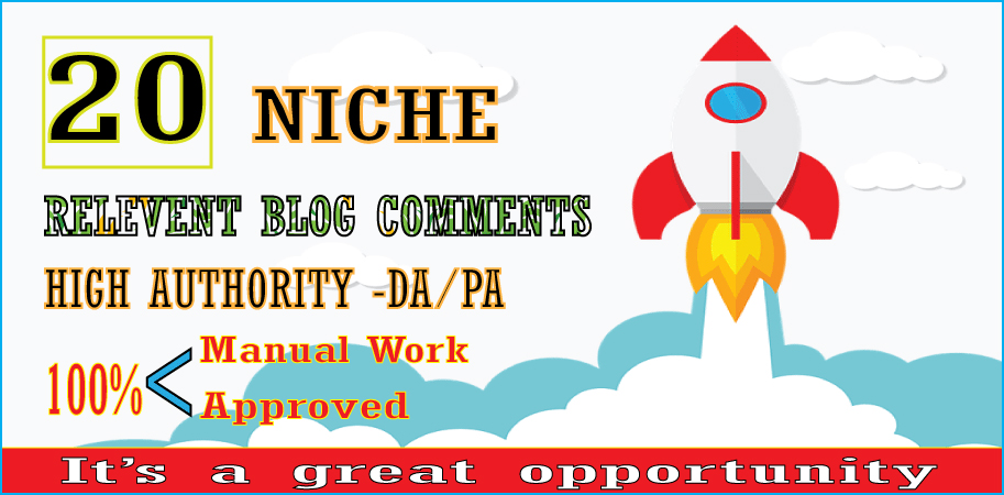 I will Provide 20 niche relevant blog comments backlinks on high DA PA