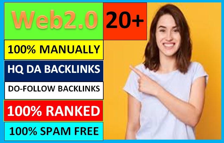 I will create 20+ high quality web 2.0 backlinks