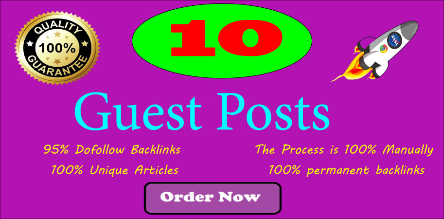 Write and Publish 10 guest Posts on High DA 85+ 99 percent Dofollow Site