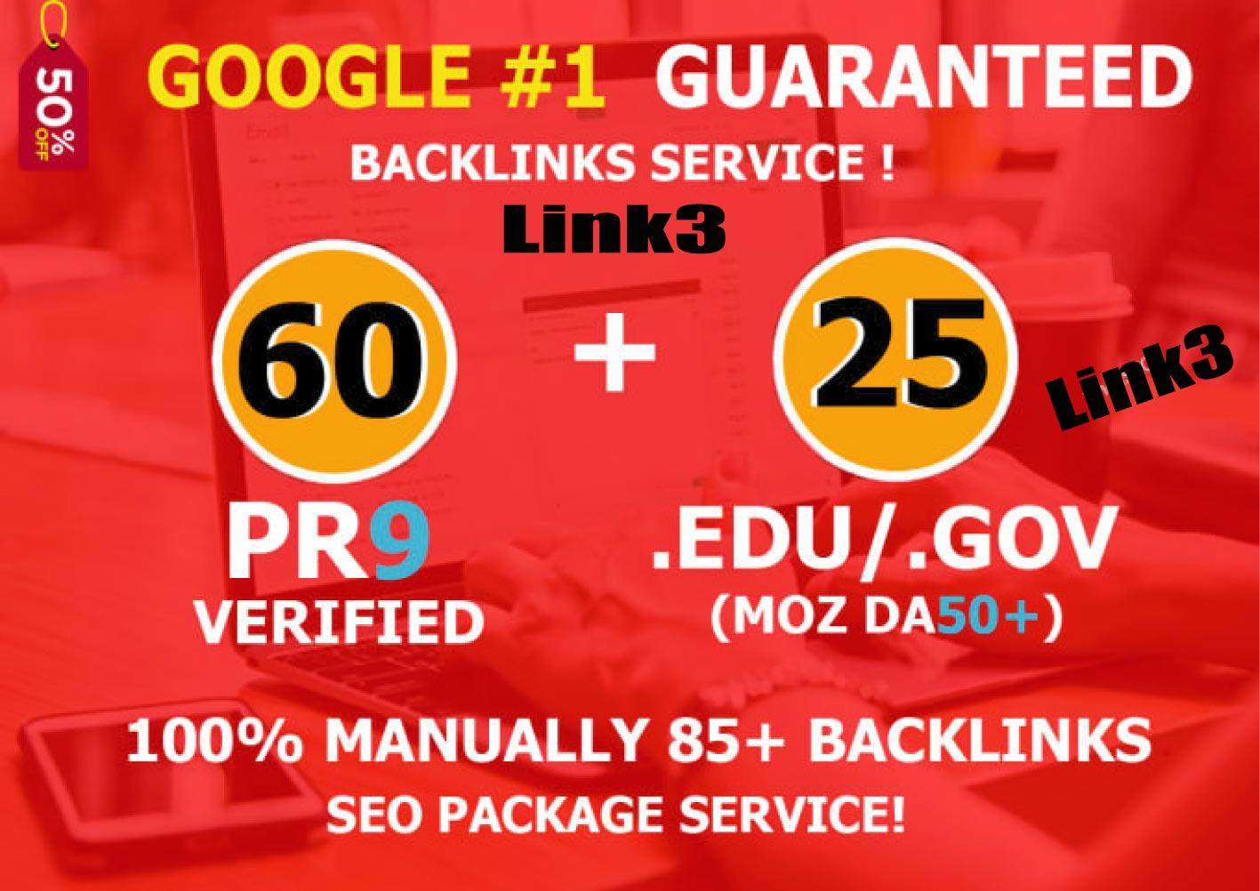 Manually created 85 Backlinks 60 PR9 BACKLINKS with 25 Edu-Gov Links