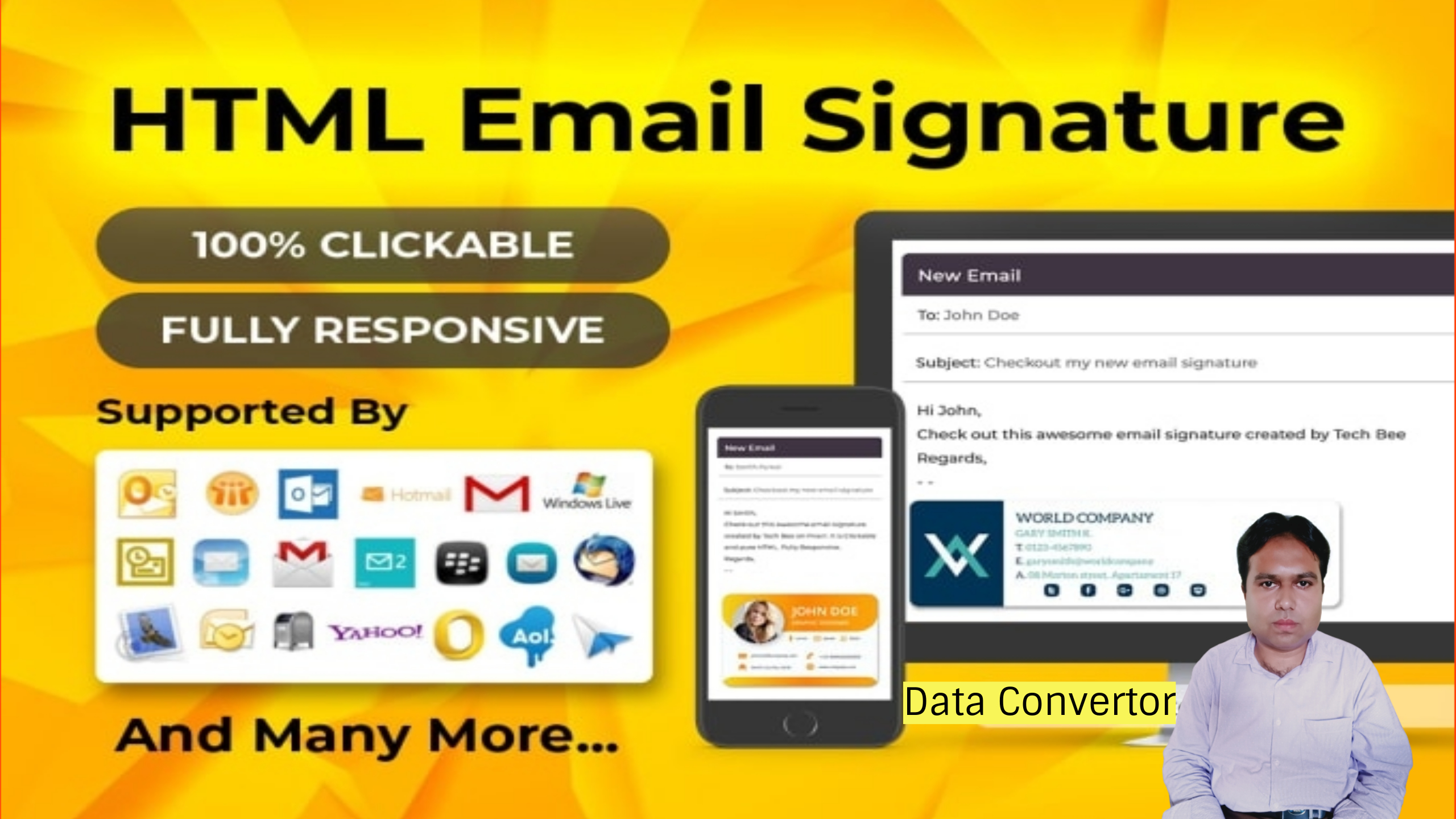 Creation of HTML email Signature and Data Converter any type