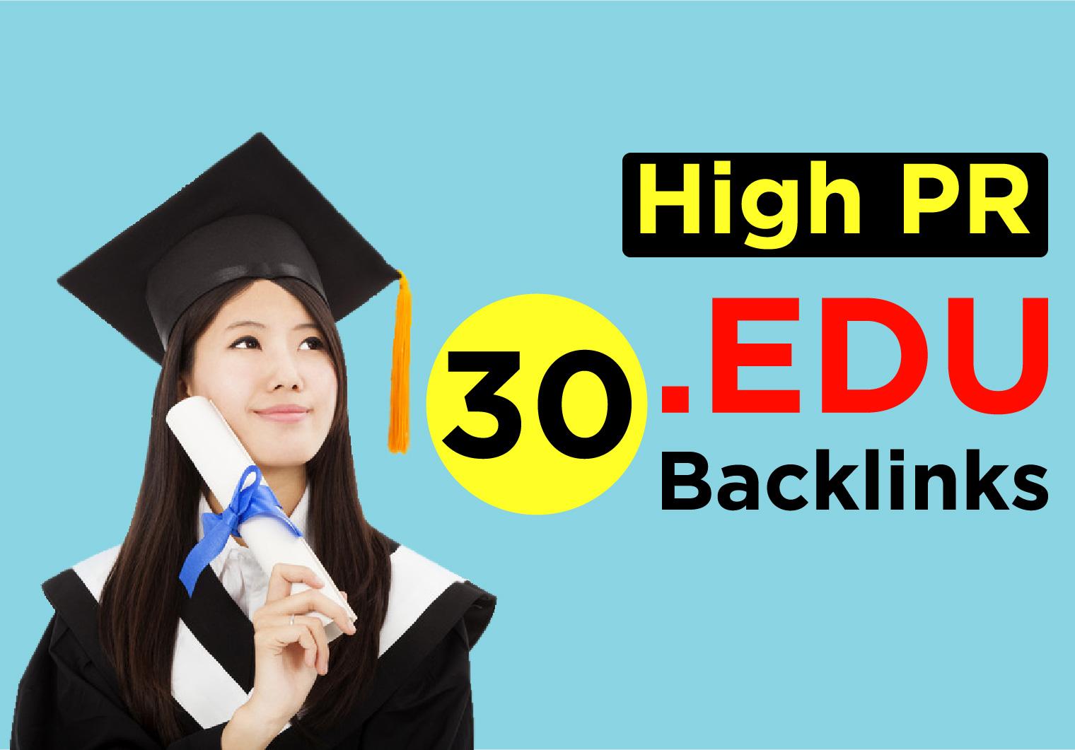 USA Based 30 Edu Backlinks High PR Safe SEO Backlinks - Boost Your Google Ranking