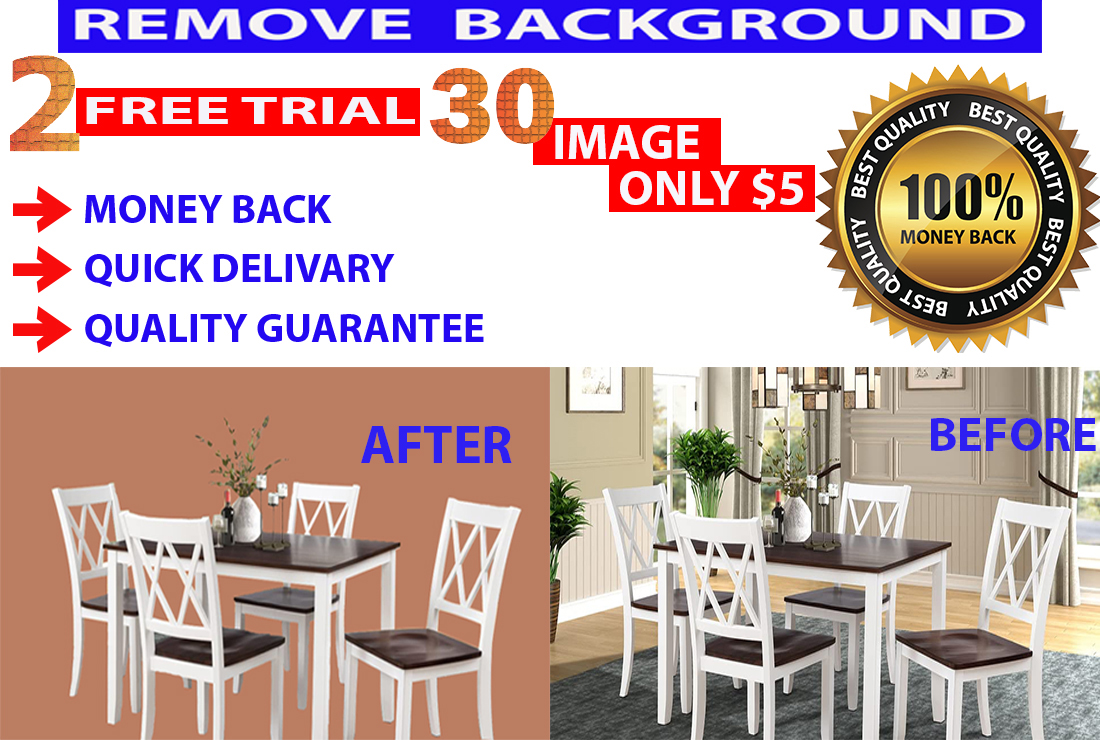 Remove Background of 5 Image within 3 Hours with Money-Back Satisfaction Guaranteed.