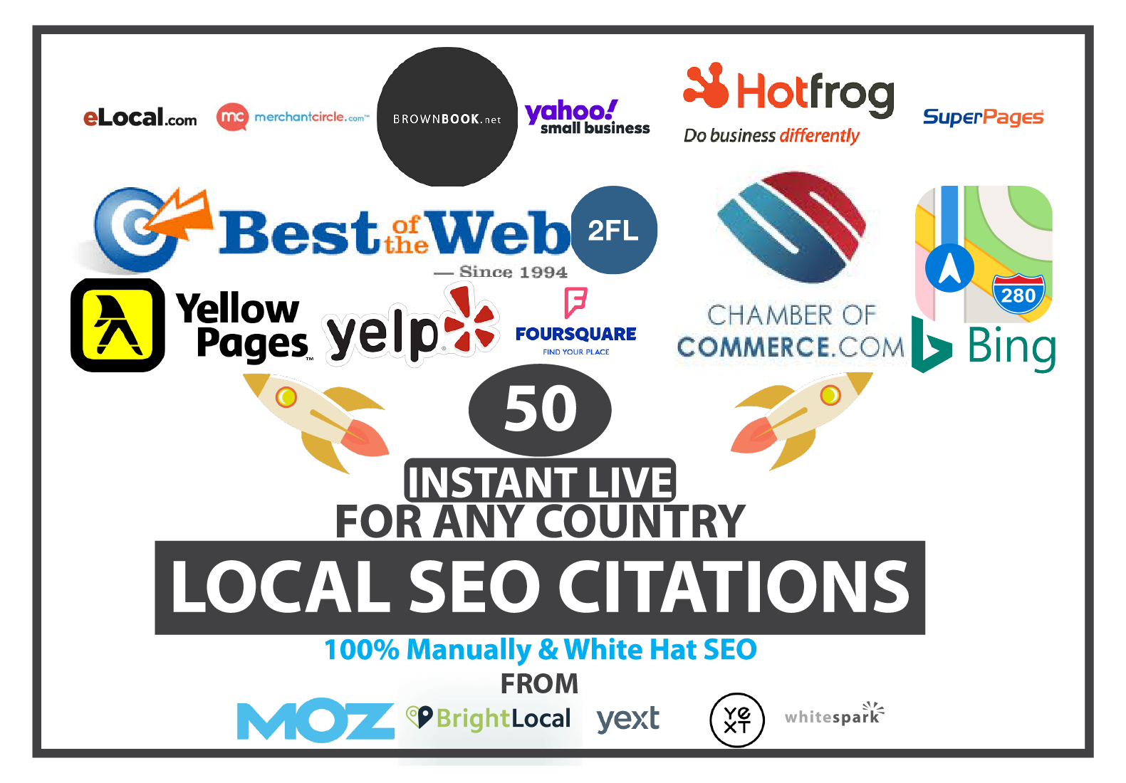 Build top 50 local citations from yext,  bright local,  moz,  whitespark list for google 1st page