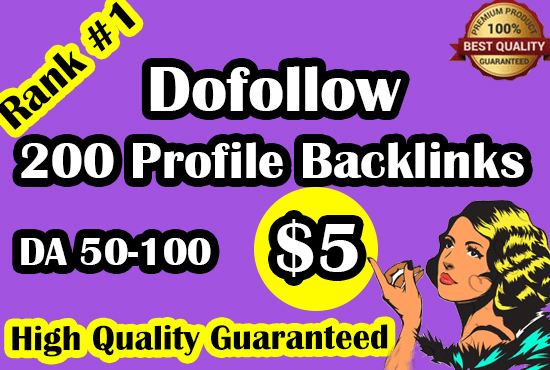 I will do 200 high da profile backlinks manually for ranking no. page of google