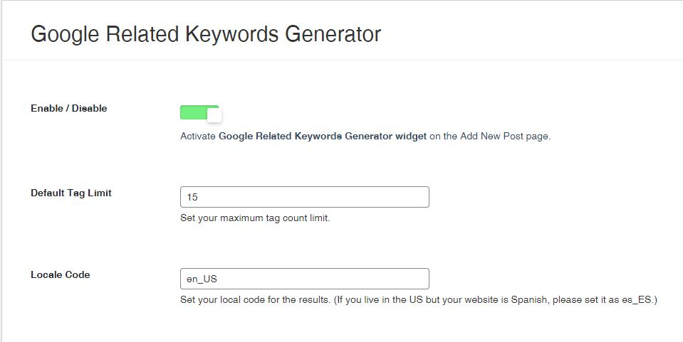 Google Related Keywords Generator plugin for Wordpress