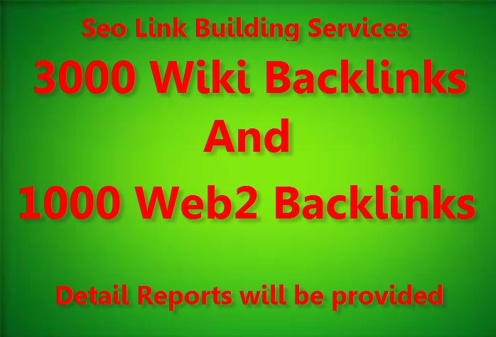 Provide 3000 Wiki Backlinks with 1000 web2.0 Blog backlinks