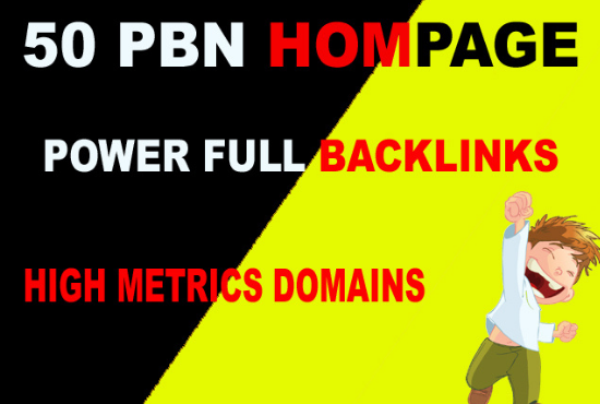 Build 50 PBN High DA/PA TF/CF Homepage Backlinks ranking your website on DA25+