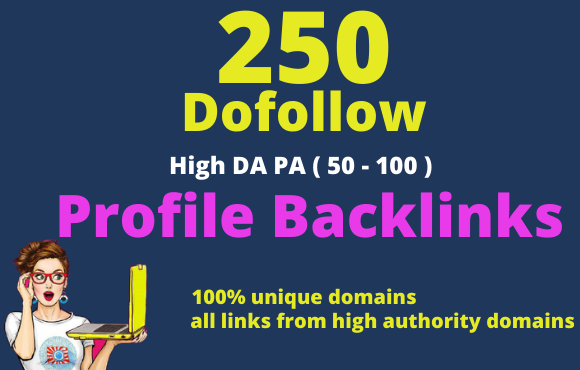 I will do 250 SEO profile backlinks on high authority websites