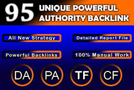 I will build 95 unique domains SEO backlinks on da 50 to 100 & 100 Hand made