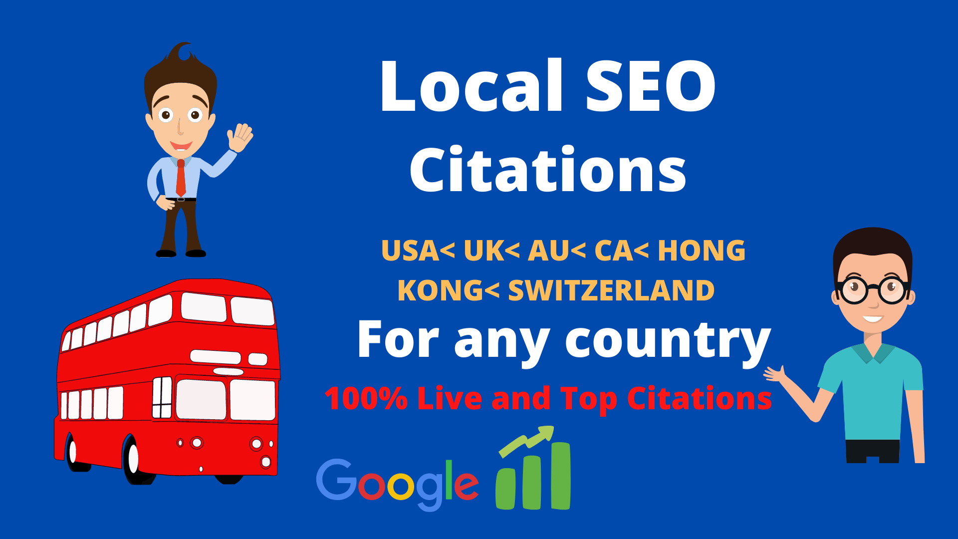 Create top 150 Live local citations Australia,  Switzerland,  HongKong,  USA,  UK,  CA for any country