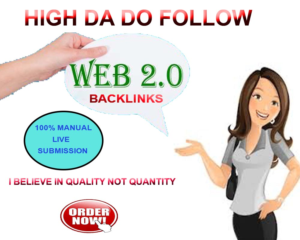 Create 35 High Quality Dofollow Web 2.0 Backlinks for your website