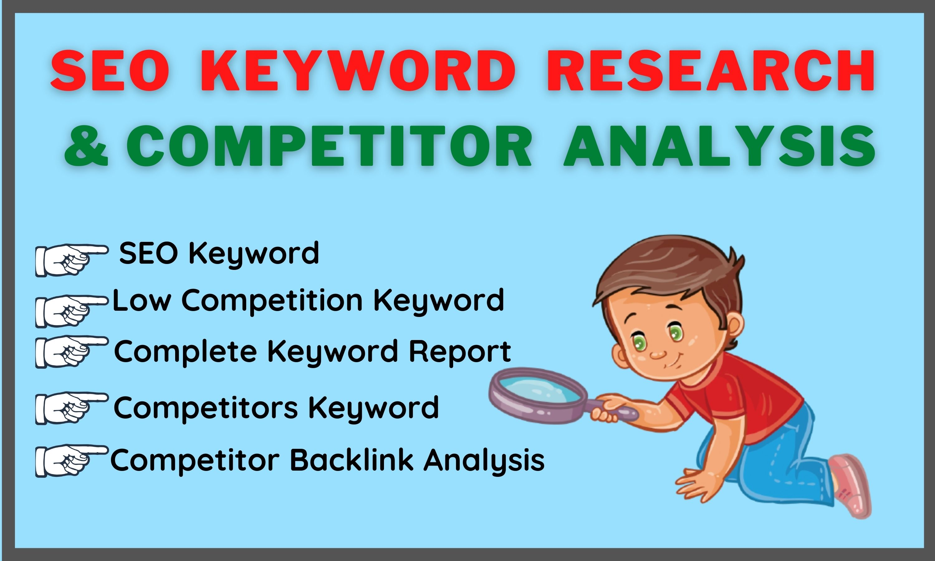 I will do low competition SEO keyword research and competitor analysis for your niche