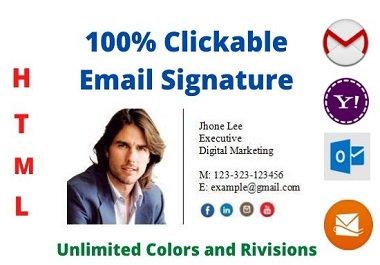 I will create clickable email signature or HTML email signature