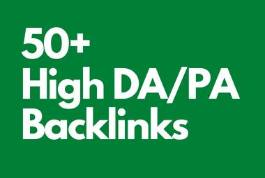 I will create 50+ High DA/PA DoFollow backlinks with 0 spam score