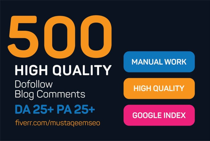 Do 500 Niche Relevant Blog Comments High Quality SEO Backlinks with High DA PA