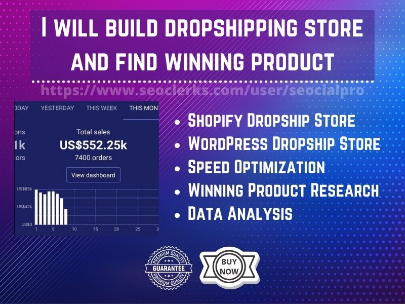 I will build dropshipping store and find winning product
