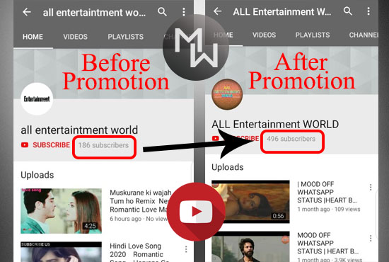 I will do Quick Channel Promotion through Real Audiance