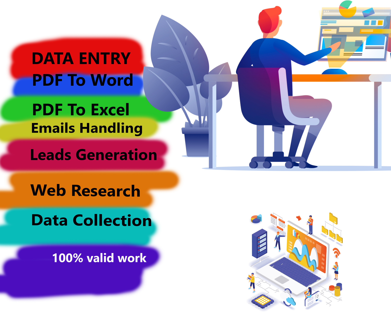 I will do Data Entry data mining manually typing