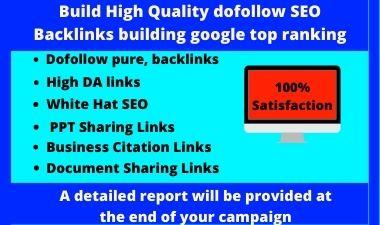 Build High Quality dofollow SEO Backlinks building google top ranking