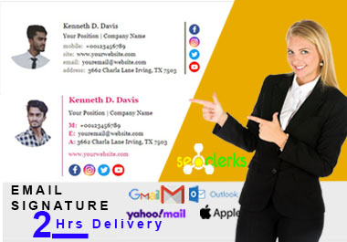 I will create a clickable email signature for outlook and Email