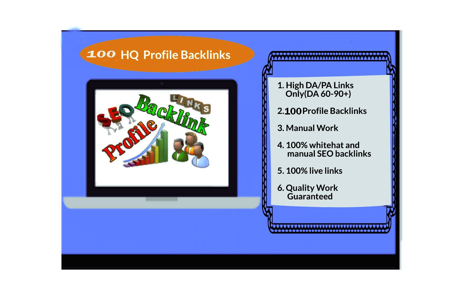 I Will Do Provide Manually 100 HQ Profile Backlinks for SEO