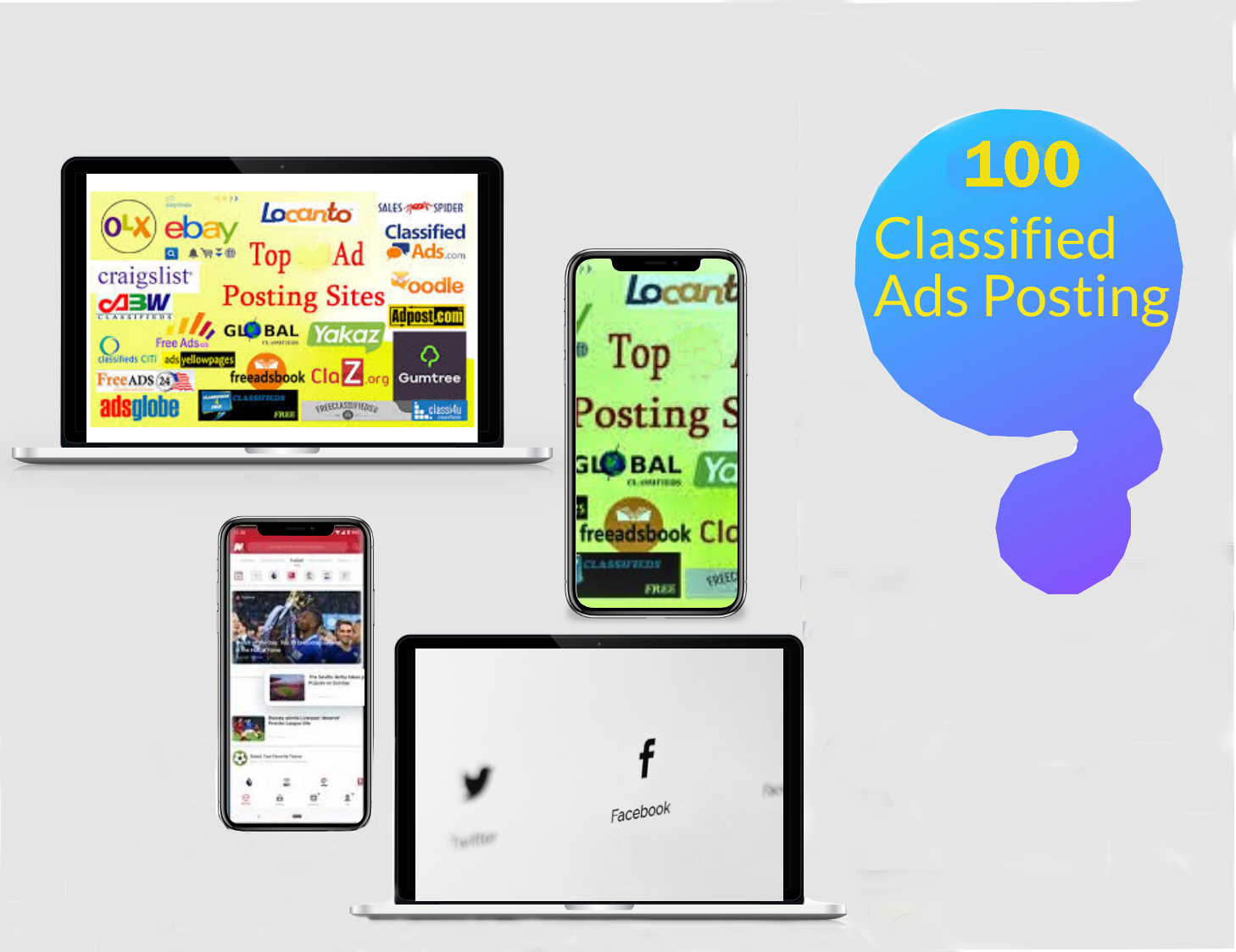 I will post 100 classified ads in top rank site in USA/worldwide