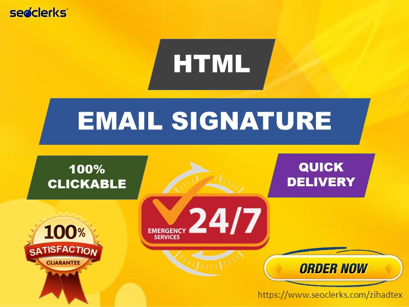 I will create professional HTML email signature or clickable email signature