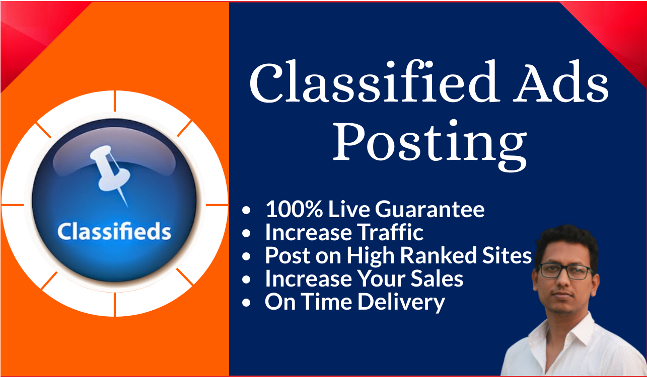 I will manually post your ads on 100 USA High Ranked classified ad posting sites