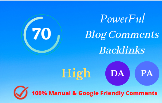 I will provide 70 High Quality Dofollow blog comment SEO Backlinks