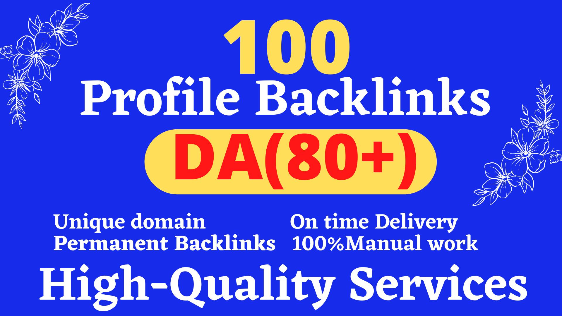 Manually create 100 TOP BRAND 80+DA Backlinks