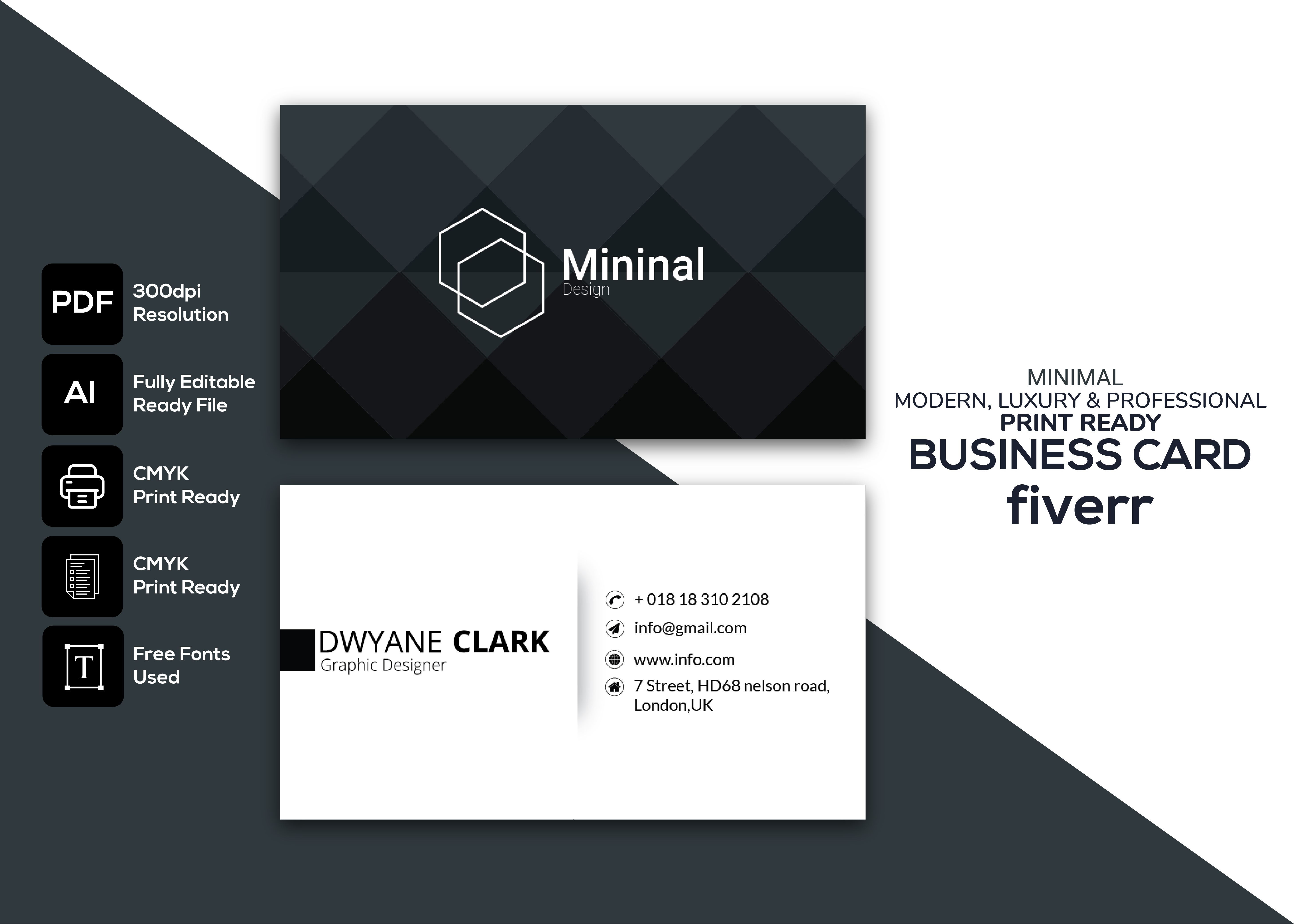 I will design minimal business card within 8 hours
